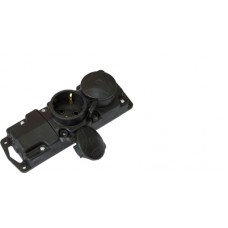 Розетка штепсельная переносная двухместная с заземляющим контактом брызгозащищенная Вилки и розетки переносные Р16-415