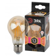 F-LED A60-13W-827-E27 gold ЭРА (филамент, груша золот., 13Вт, тепл, Е27) (10/100/1500)