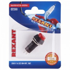 Выключатель-кнопка  250V 1А (2с) ON-OFF  красная  (PBS-11А)  REXANT (в упак. 1шт.)